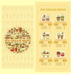 ice cream menu card set of cute desserts icons vector image