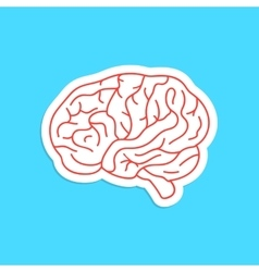 red outline brain icon sticker vector image vector image