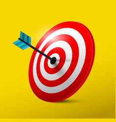 Target 3d symbol with dart dartboard icon vector