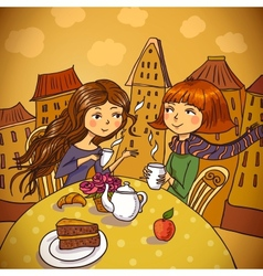 Two young women drinking coffee in cafe vector image