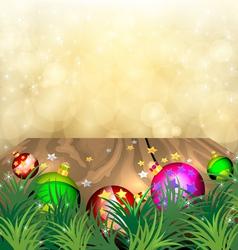 Christmas scene on wood vector image vector image