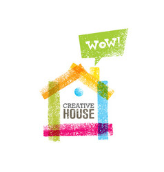 creative house decoration with colorful abstract vector image