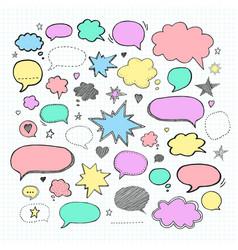 handwriting set of speech bubbles vector image vector image