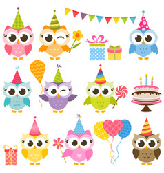set of cute colorful owls on birthday party vector image