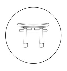 torii icon in outline style isolated on white vector image vector image