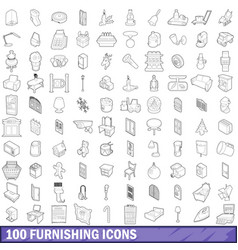 100 furnishing icons set outline style vector image