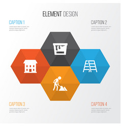 building icons set collection of paint bucket vector image vector image