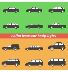 Icon set car body styles made in flat design vector image vector image