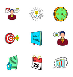 office life icons set cartoon style vector image