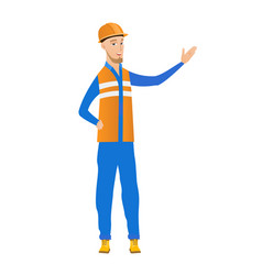 young caucasian builder with outstretched hand vector image vector image