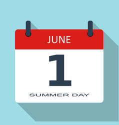 1 june summer day flat daily calendar ico vector image
