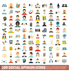 100 social opinion icons set flat style vector image