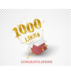 1000 likes out box with gold confetti vector image