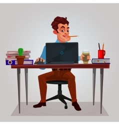 a man working on laptop vector image
