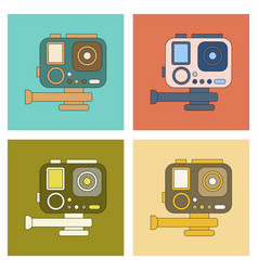 assembly flat icon technology camcorder vector image