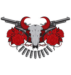 Banner with two old revolvers skull and roses vector