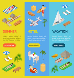 beach vacation banner vecrtical set 3d isometric vector image