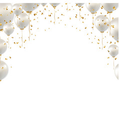 birthday border and white balloons white vector image