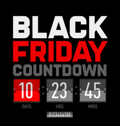 Black friday countdown timer template vector