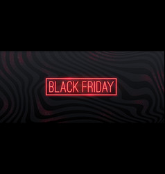 black friday sale design with neon sign vector image