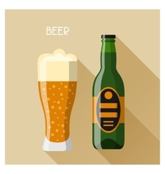 Bottle and glass of beer in flat design style vector image