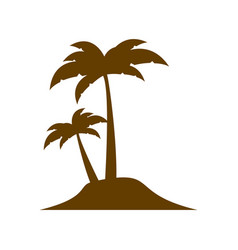 Brown silhouette island with two palms vector