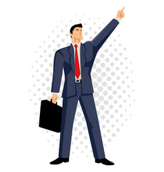 Businessman with briefcase pointing up vector