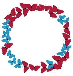 Butterflies frame circular pattern border vector