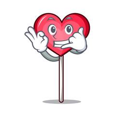Call me heart lollipop mascot cartoon vector