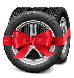 Car wheels with red bow vector