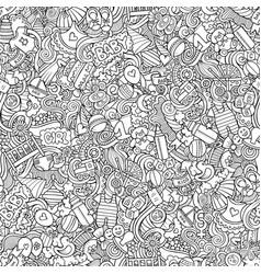 cartoon cute doodles hand drawn baby seamless vector image