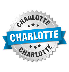 Charlotte round silver badge with blue ribbon vector