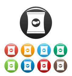 chips icons set color vector image