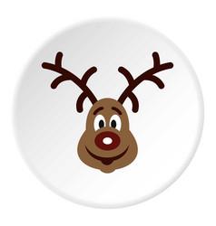christmas deer icon circle vector image