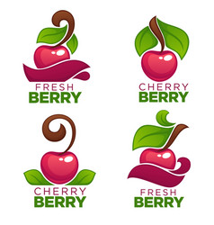 collection of juice stickers and cherry berry vector image