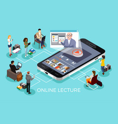 College students learning online education vector