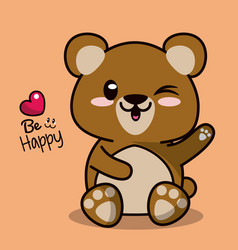 Color background with cute kawaii animal bear vector