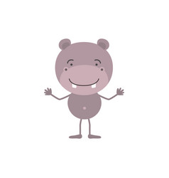 Colorful caricature of cute hippopotamus happiness vector