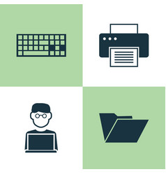 Computer icons set collection of programmer vector