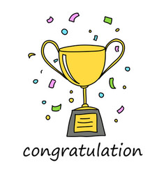 Congratulation trophy vector