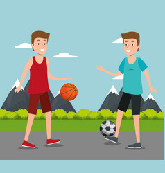 couple of athletes practicing sport vector image