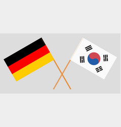 Crossed flags south korea and germany vector