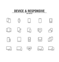 device and responsive line icons vector image