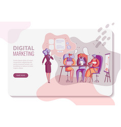 digital marketing horizontal banner layout with vector image