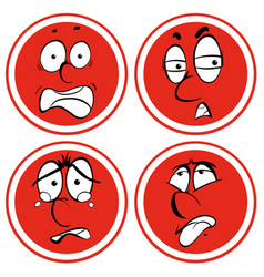facial expressions on red circle vector image