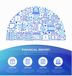 Financial report concept in half circle vector