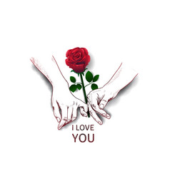 Finger holding hand hand drawn and rose isolated vector