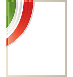 frame with italian flag glass vector image