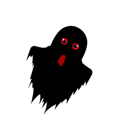 Ghost silhouette with predatory red eyes isolated vector