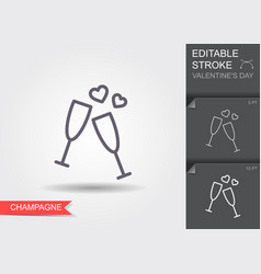 glass champagne line icon with editable stroke vector image